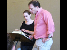 2012 YIY composer Dale Trumbore discusses her piece with Martín Benvenuto during rehearsal