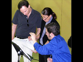 Martín Benvenuto, Libby Larsen, and Joshua Fishbein discuss the score of Unseen Secrets at the 2010 Composers' Workshop.