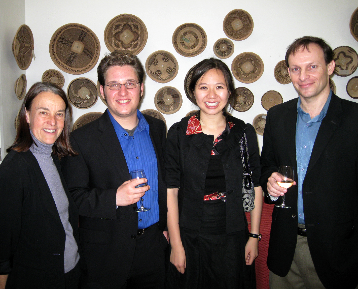 Martin Benvenuto of WomenSing, mentor Libby Larsen, and 2010 composers Elizabeth Lim and Joshua Fishbein.