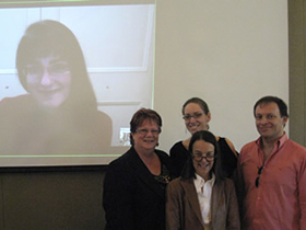 The 2012 YIY Workshop participants: YIY composer Anastasia Pahos (via Skype from Australia), advising composer Sandra Milliken, YIY composer Dale Trumbore (in back), teaching artist Libby Larsen, and Martín Benvenuto.