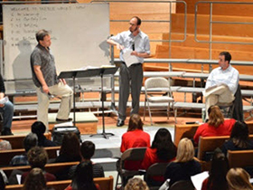 Treble Voices Now rehearsal in April 2014 with WomenSing artistic director Martín Benvenuto, YIY composer Jordan Nelson, and advising composer Cristian Grases.