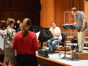 Treble Voices Now rehearsal in April 2014 with YIY composer Chris Castro and Martín Benvenuto