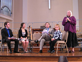 Joshua Fishbein, Elizabeth Lim, Martín Benvenuto, Quinn Whitlow, and Pamela Michaels at a pre-concert talk before the 2010 premieres of Unseen Secrets and Sisyphean.