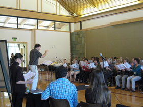 At the Composers' Workshop 2011: Directed by Martín Benvenuto, WomenSing Chorus sings the new compositions for Teaching Artist Libby Larsen, and Composers Nick Norton and Lauren McLaren.